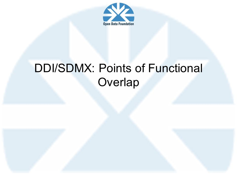 DDI/SDMX: Points of Functional Overlap