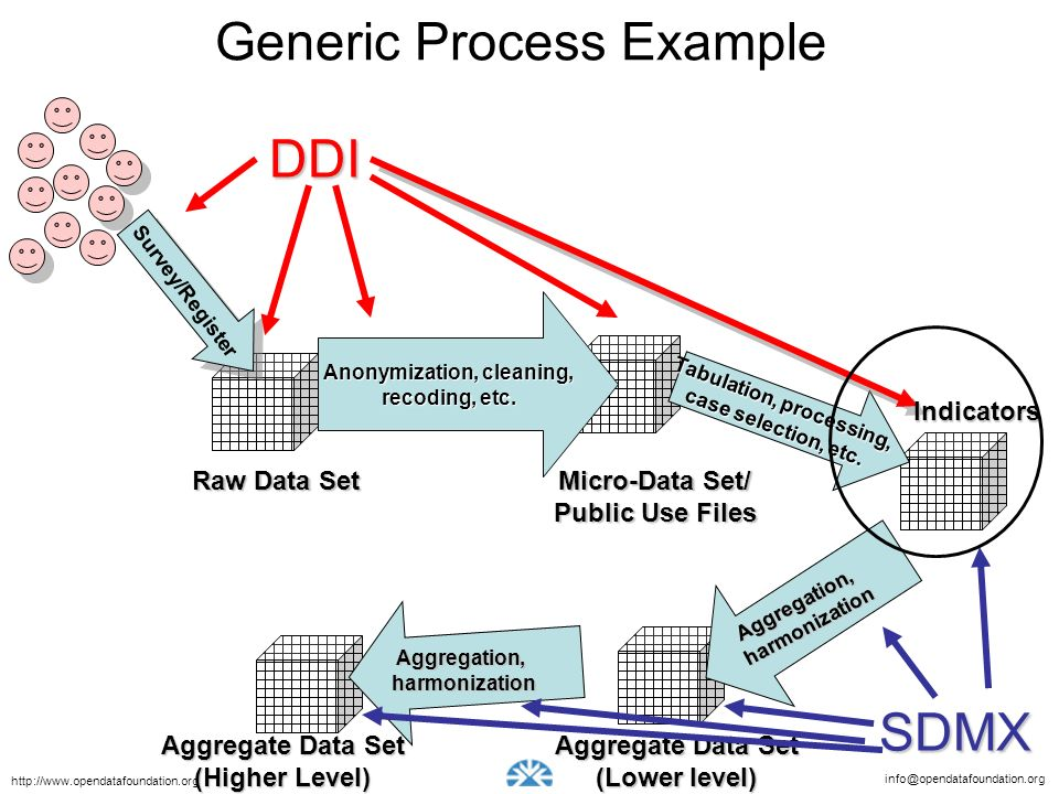 info@opendatafoundation.org http://www.opendatafoundation.org Generic Process Example Survey/Register Raw Data Set Anonymization, cleaning, recoding, etc.