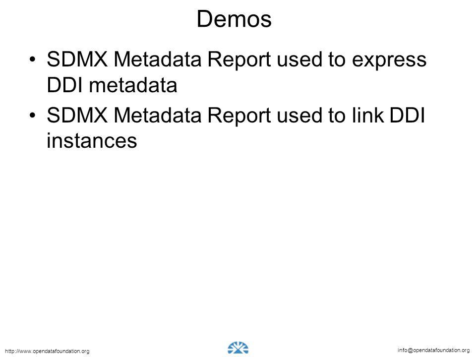 info@opendatafoundation.org http://www.opendatafoundation.org Demos SDMX Metadata Report used to express DDI metadata SDMX Metadata Report used to link DDI instances