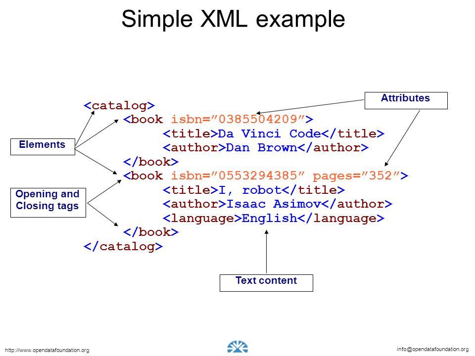 info@opendatafoundation.org http://www.opendatafoundation.org Simple XML example Da Vinci Code Dan Brown I, robot Isaac Asimov English Elements Text c