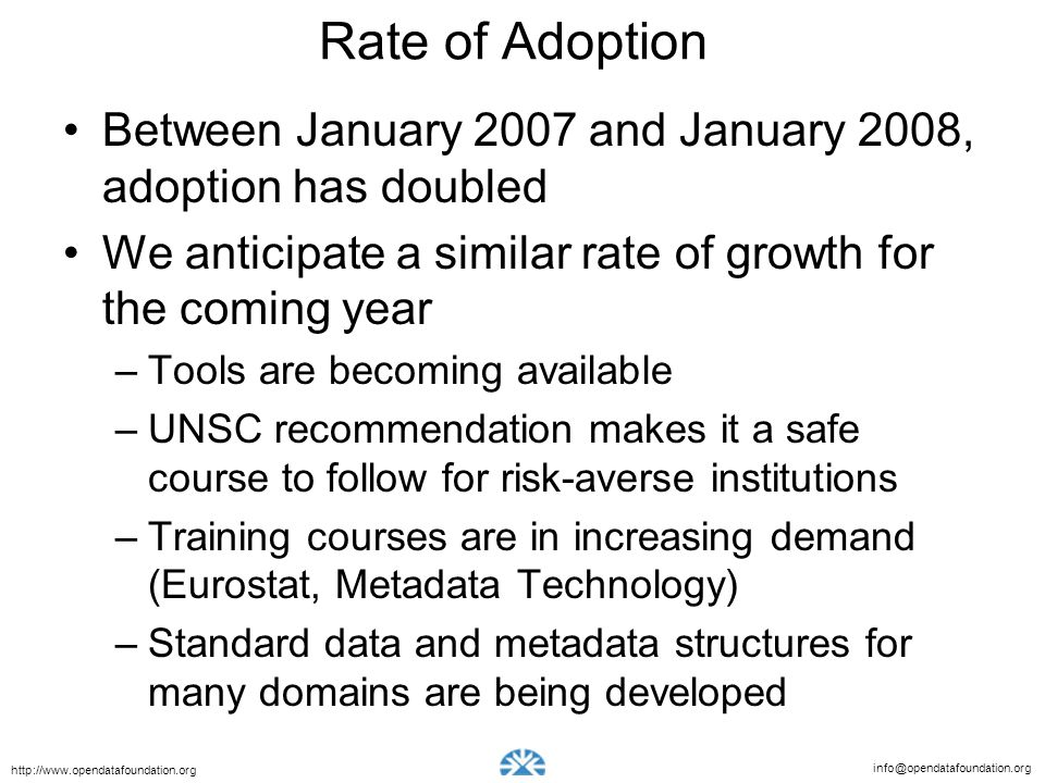 info@opendatafoundation.org http://www.opendatafoundation.org Rate of Adoption Between January 2007 and January 2008, adoption has doubled We anticipa