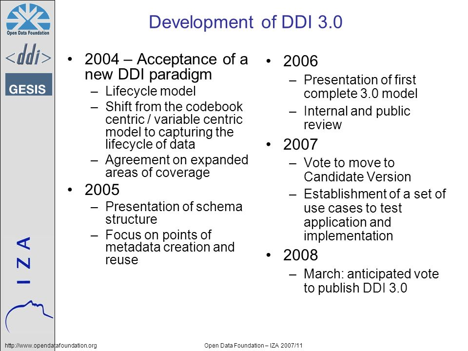 http://www.opendatafoundation.orgOpen Data Foundation – IZA 2007/11 Development of DDI 3.0 2004 – Acceptance of a new DDI paradigm –Lifecycle model –Shift from the codebook centric / variable centric model to capturing the lifecycle of data –Agreement on expanded areas of coverage 2005 –Presentation of schema structure –Focus on points of metadata creation and reuse 2006 –Presentation of first complete 3.0 model –Internal and public review 2007 –Vote to move to Candidate Version –Establishment of a set of use cases to test application and implementation 2008 –March: anticipated vote to publish DDI 3.0