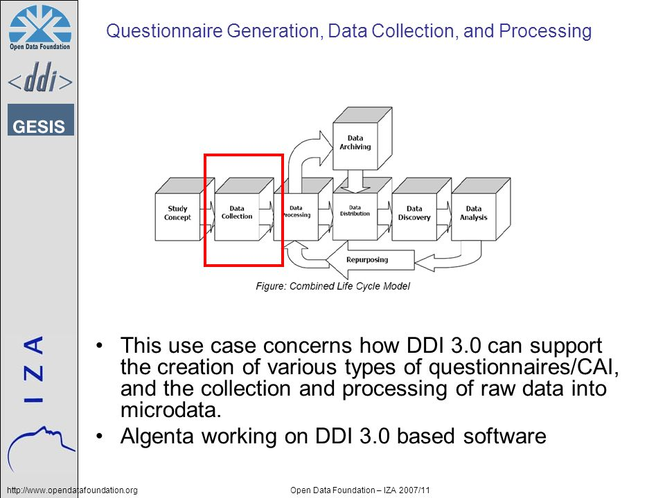 http://www.opendatafoundation.orgOpen Data Foundation – IZA 2007/11 Questionnaire Generation, Data Collection, and Processing This use case concerns how DDI 3.0 can support the creation of various types of questionnaires/CAI, and the collection and processing of raw data into microdata.