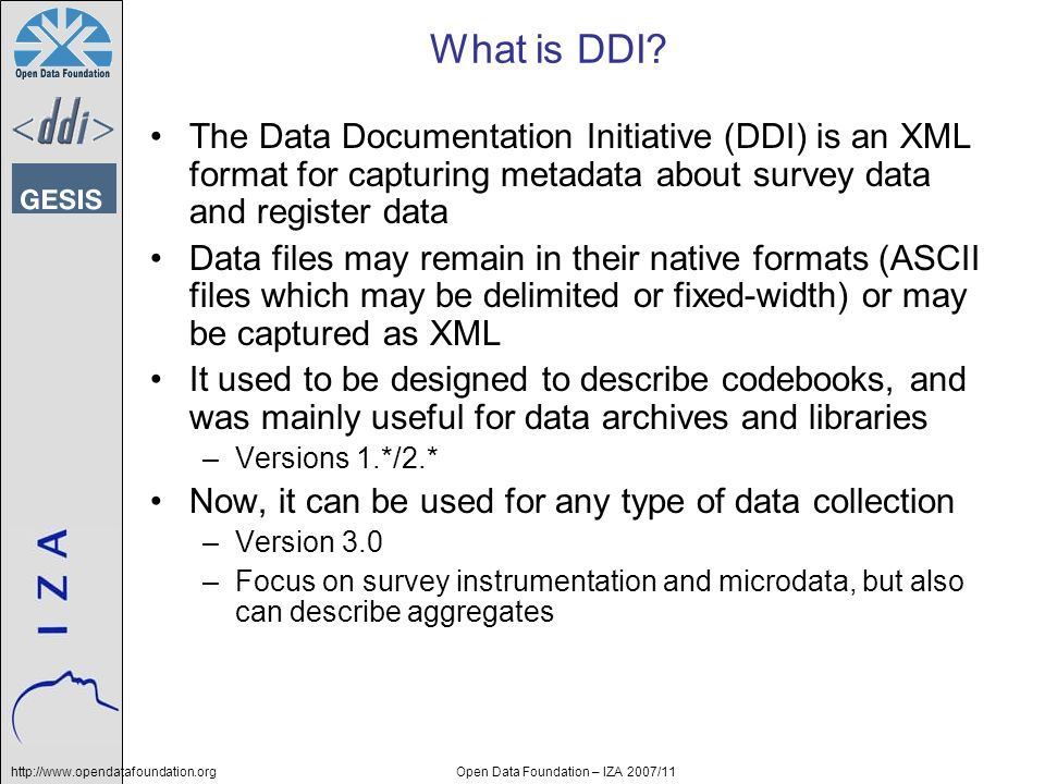 http://www.opendatafoundation.orgOpen Data Foundation – IZA 2007/11 What is DDI.
