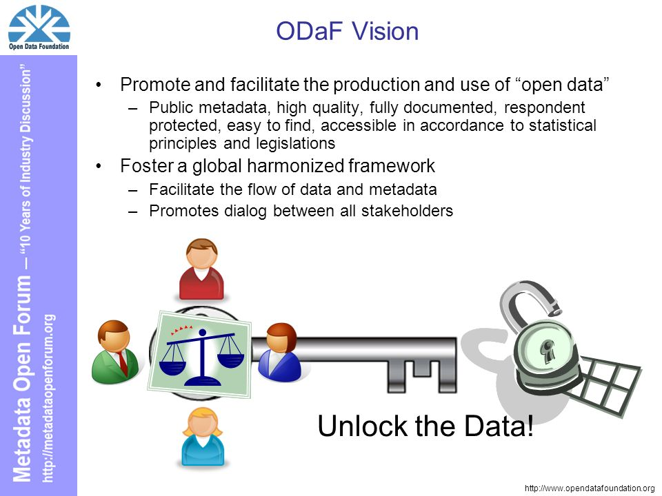 http://www.opendatafoundation.org ODaF Vision Promote and facilitate the production and use of open data –Public metadata, high quality, fully documented, respondent protected, easy to find, accessible in accordance to statistical principles and legislations Foster a global harmonized framework –Facilitate the flow of data and metadata –Promotes dialog between all stakeholders Unlock the Data!