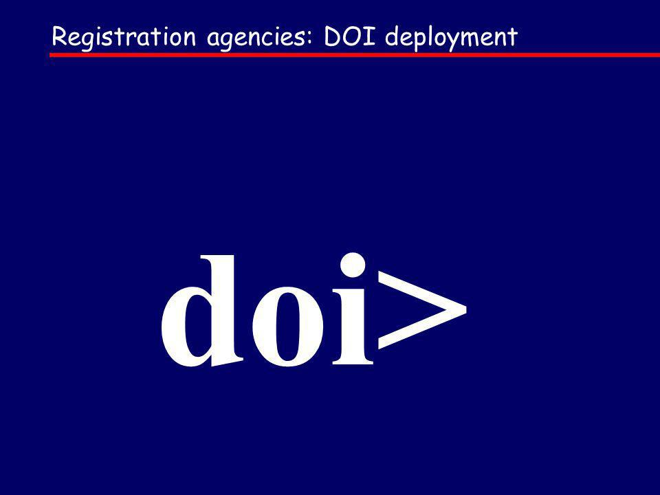 Registration agencies: DOI deployment doi>