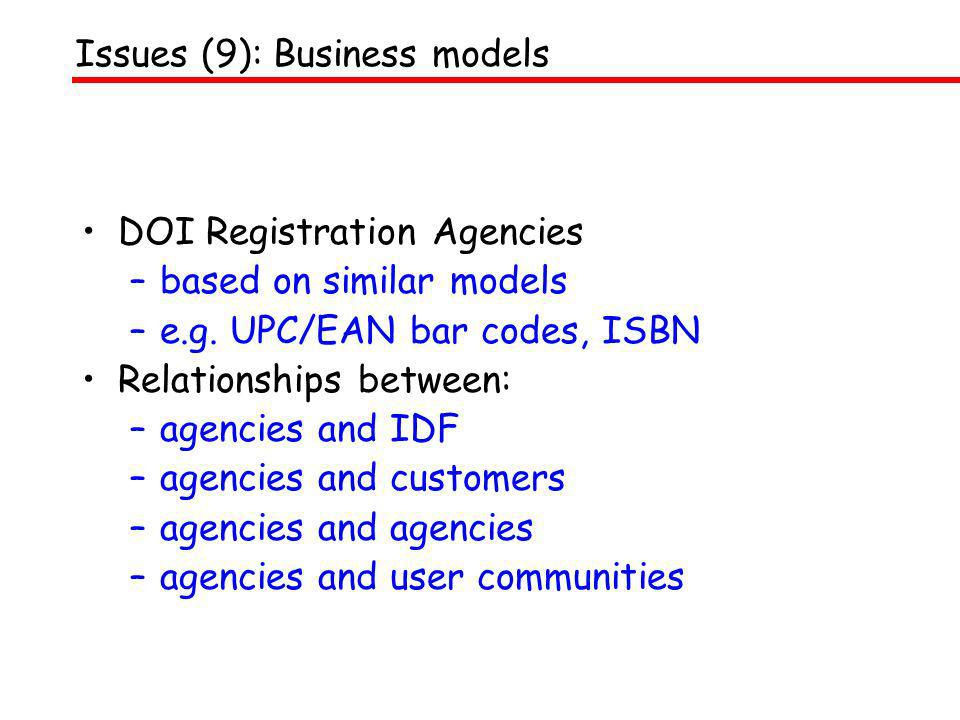 DOI Registration Agencies –based on similar models –e.g. UPC/EAN bar codes, ISBN Relationships between: –agencies and IDF –agencies and customers –age