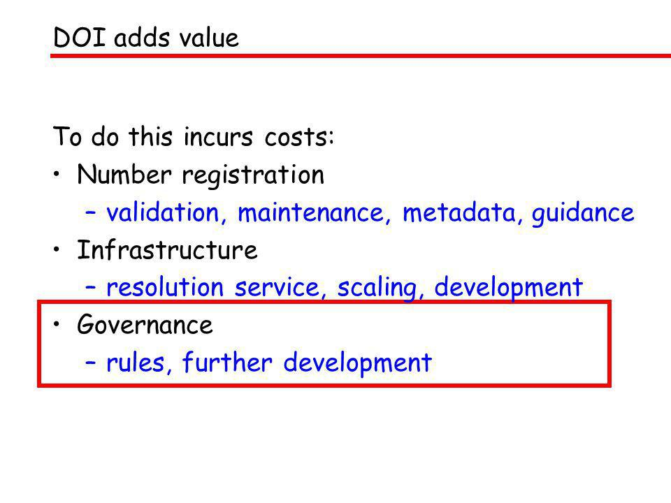 To do this incurs costs: Number registration –validation, maintenance, metadata, guidance Infrastructure –resolution service, scaling, development Gov