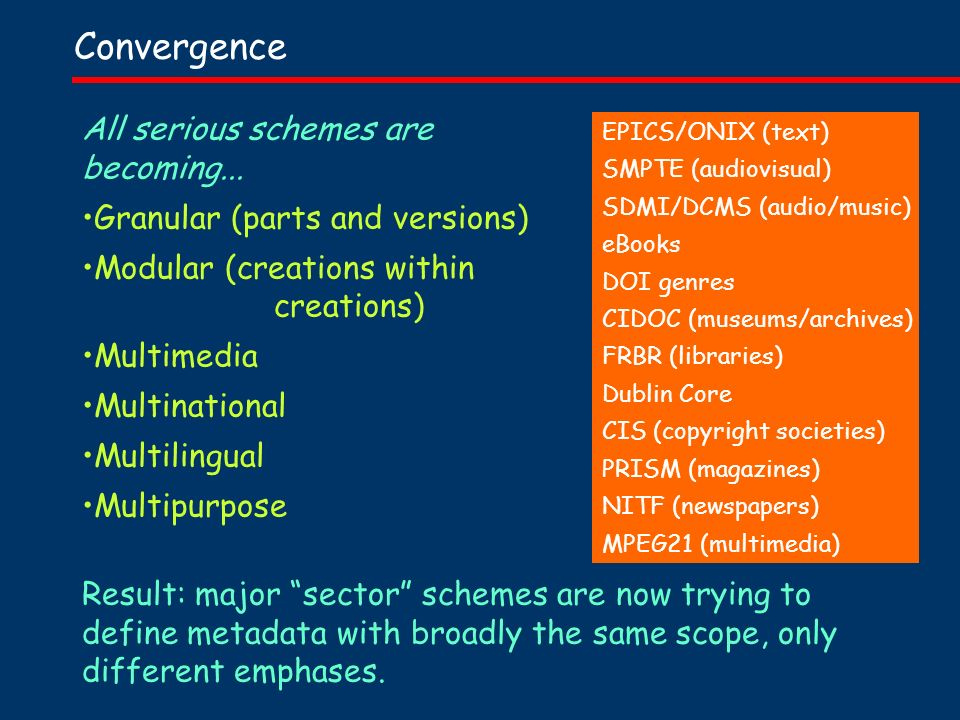 Convergence All serious schemes are becoming...