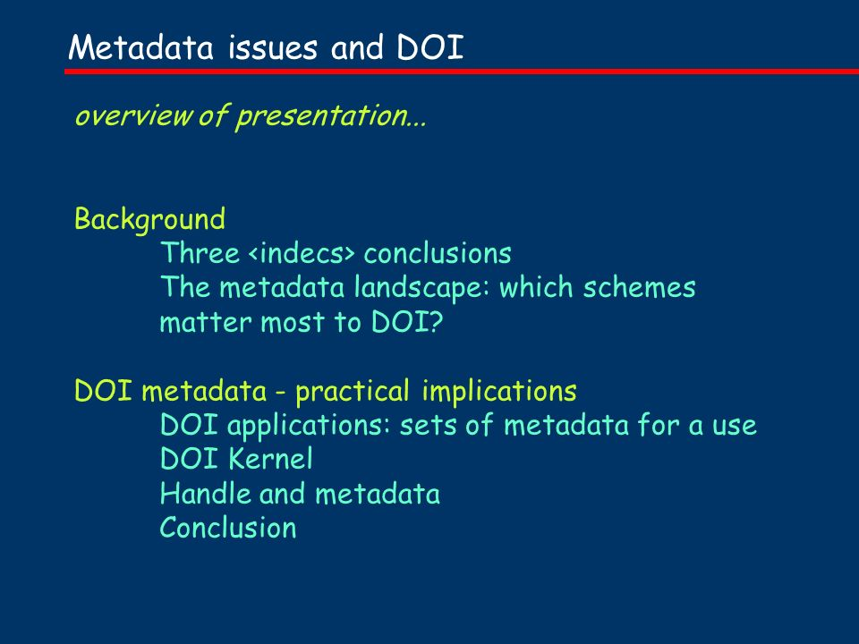 overview of presentation...