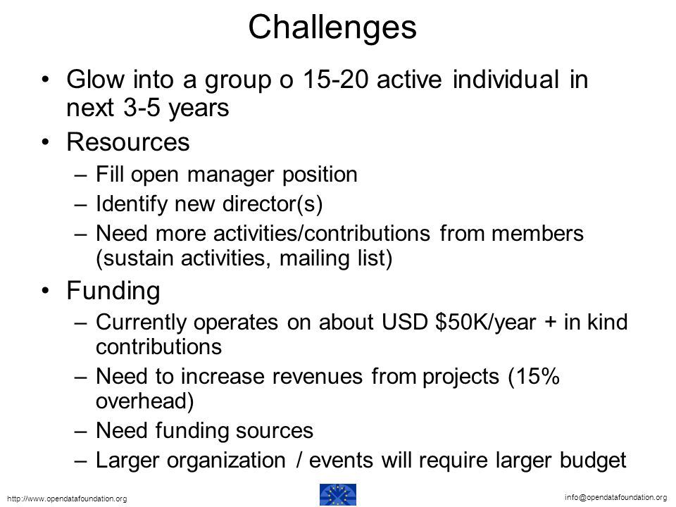 Challenges Glow into a group o active individual in next 3-5 years Resources –Fill open manager position –Identify new director(s) –Need more activities/contributions from members (sustain activities, mailing list) Funding –Currently operates on about USD $50K/year + in kind contributions –Need to increase revenues from projects (15% overhead) –Need funding sources –Larger organization / events will require larger budget