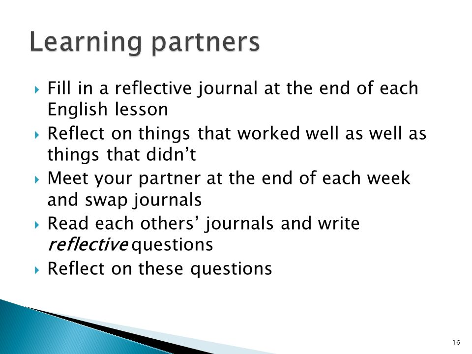Fill in a reflective journal at the end of each English lesson Reflect on things that worked well as well as things that didnt Meet your partner at th