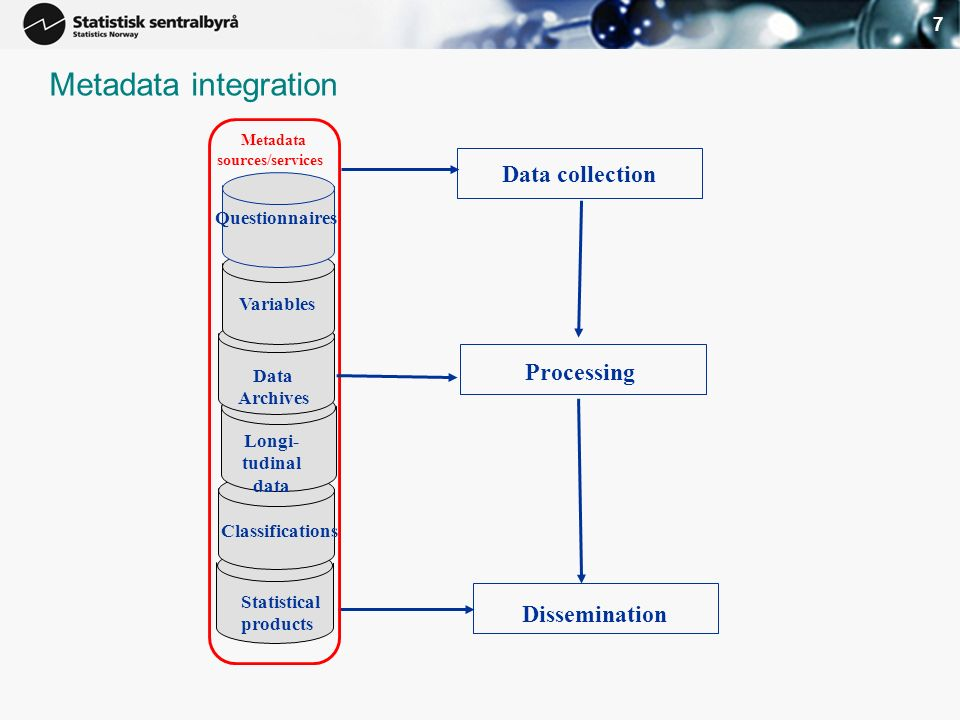 7 Classifications Longi- tudinal data Data Archives Variables Metadata sources/services Questionnaires Data collection Processing Dissemination Statistical products Metadata integration