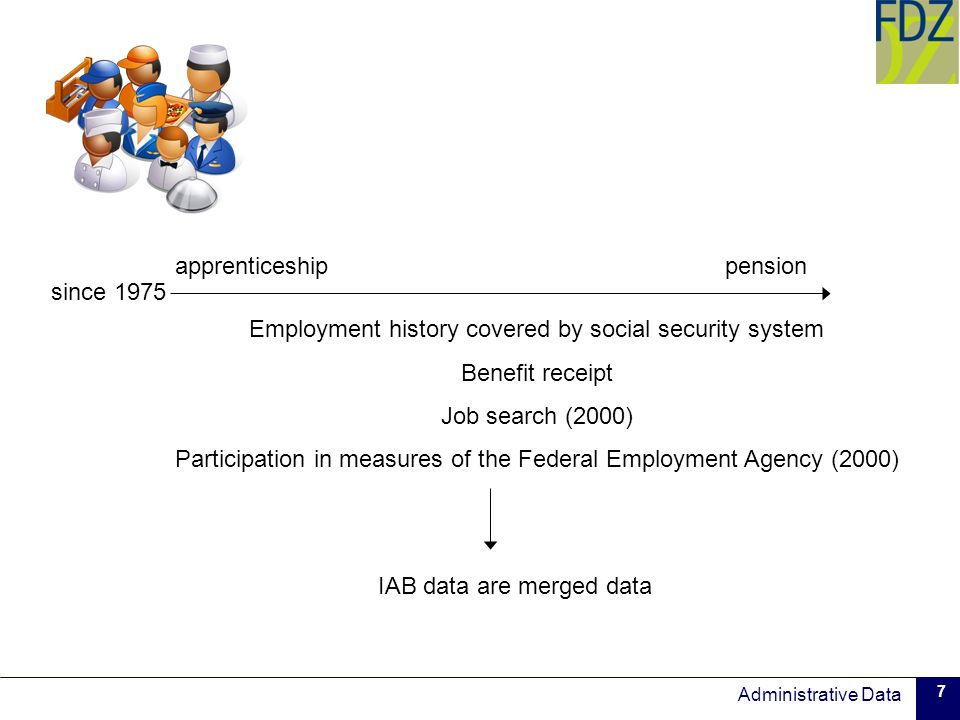 Administrative Data 7 Employment history covered by social security system Benefit receipt Job search (2000) Participation in measures of the Federal