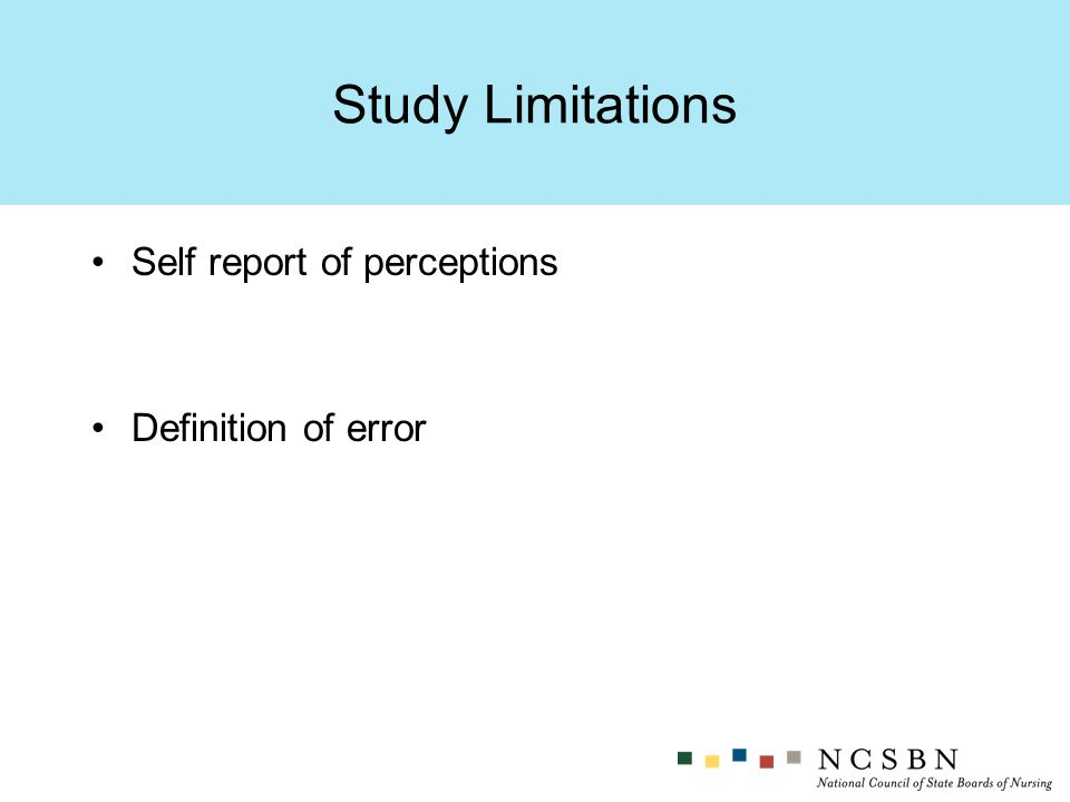 Self report of perceptions Definition of error Study Limitations