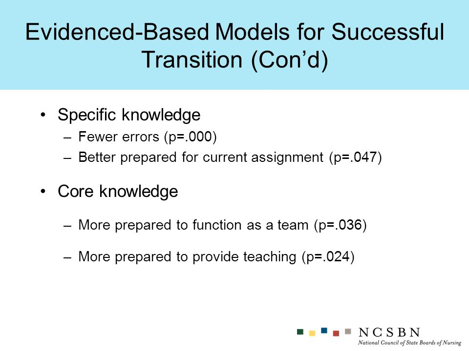 Specific knowledge –Fewer errors (p=.000) –Better prepared for current assignment (p=.047) Core knowledge –More prepared to function as a team (p=.036) –More prepared to provide teaching (p=.024) Evidenced-Based Models for Successful Transition (Cond)