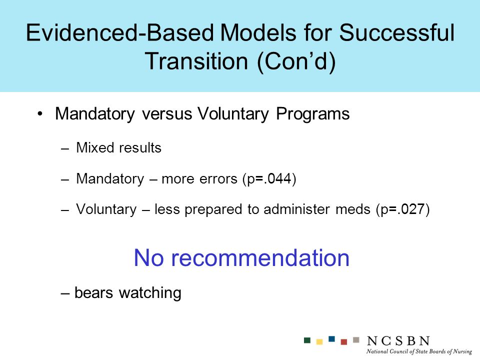Evidenced-Based Models for Successful Transition (Cond) Mandatory versus Voluntary Programs –Mixed results –Mandatory – more errors (p=.044) –Voluntary – less prepared to administer meds (p=.027) No recommendation – bears watching