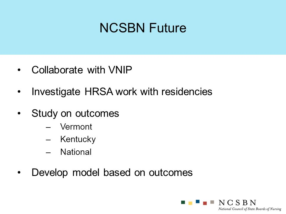Collaborate with VNIP Investigate HRSA work with residencies Study on outcomes –Vermont –Kentucky –National Develop model based on outcomes NCSBN Future