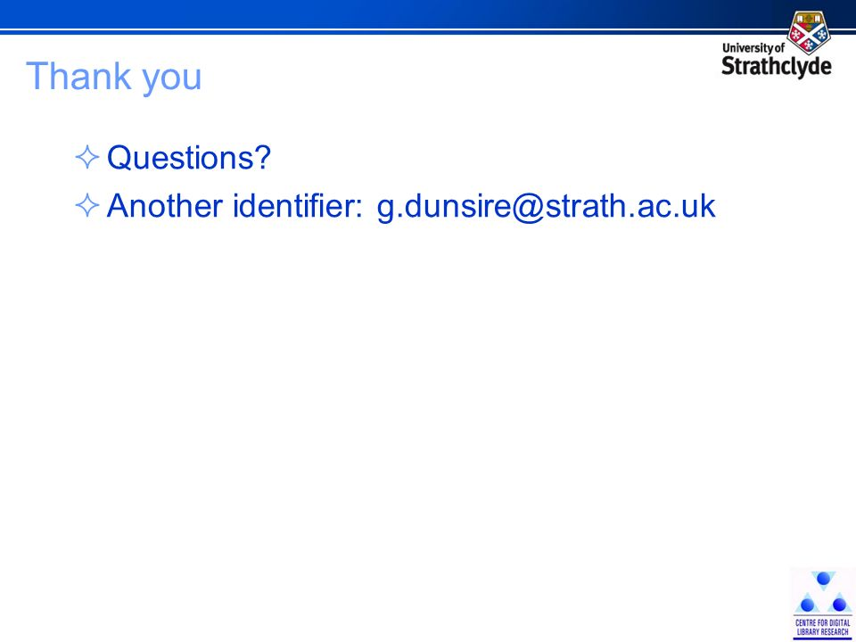 Thank you Questions? Another identifier: g.dunsire@strath.ac.uk