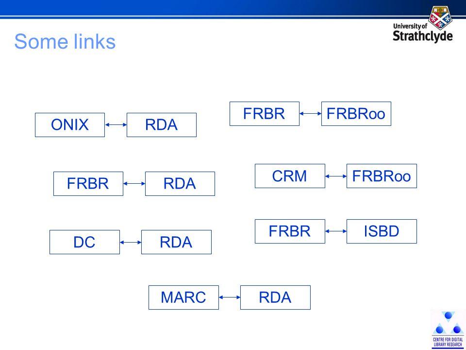 Some links FRBRooCRM ISBDFRBR RDAMARC RDADC RDAFRBR RDAONIX FRBRooFRBR