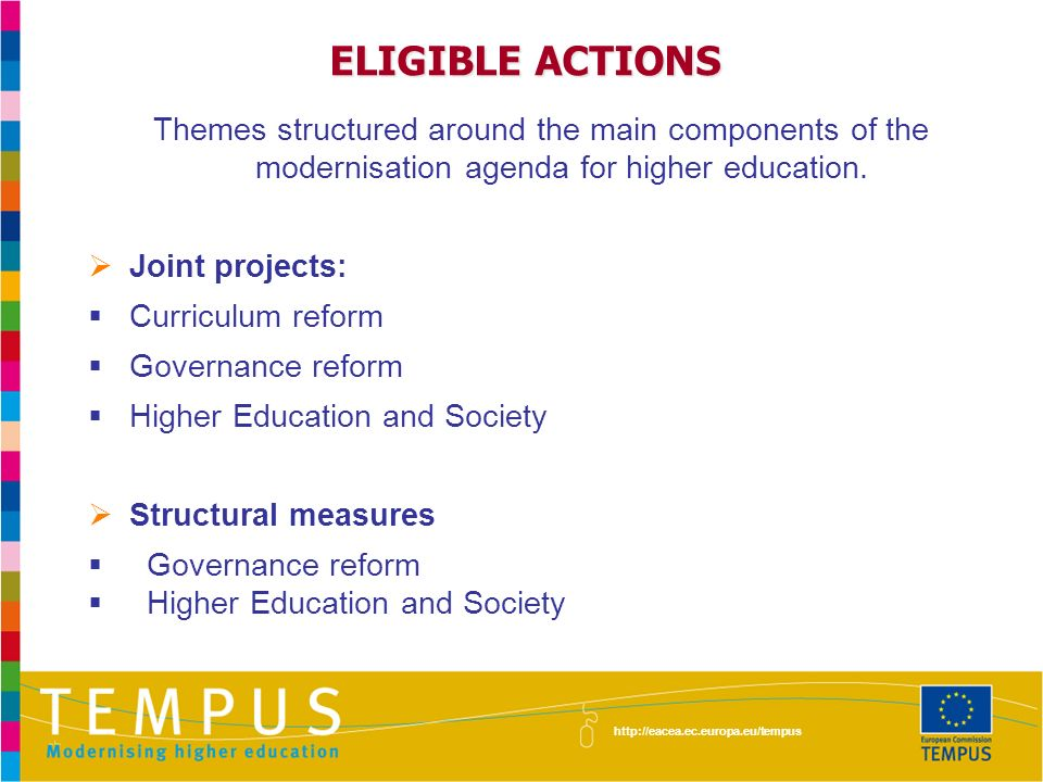 ELIGIBLE ACTIONS Themes structured around the main components of the modernisation agenda for higher education.