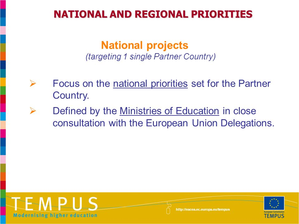 NATIONAL AND REGIONAL PRIORITIES National projects (targeting 1 single Partner Country) Focus on the national priorities set for the Partner Country.