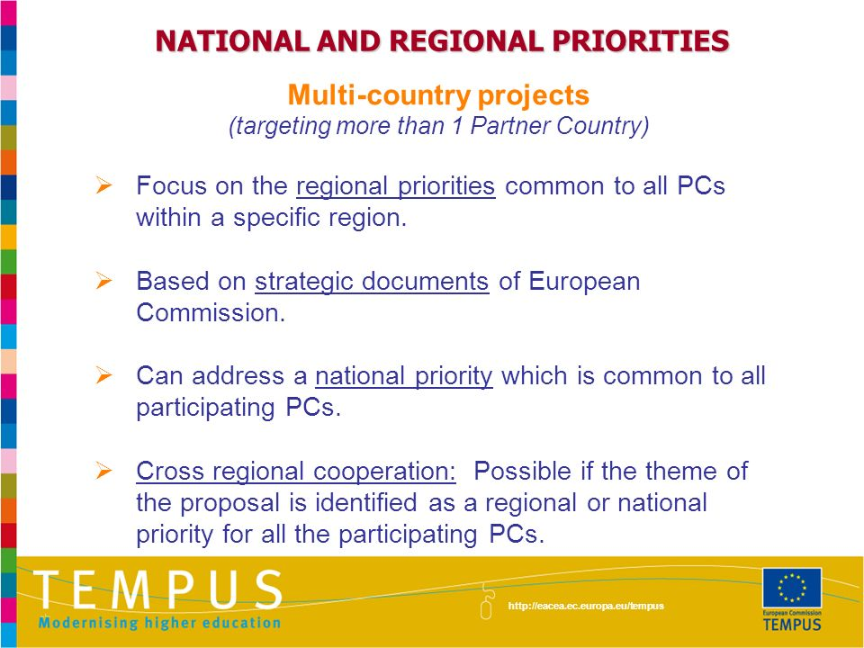 NATIONAL AND REGIONAL PRIORITIES Multi-country projects (targeting more than 1 Partner Country) Focus on the regional priorities common to all PCs within a specific region.