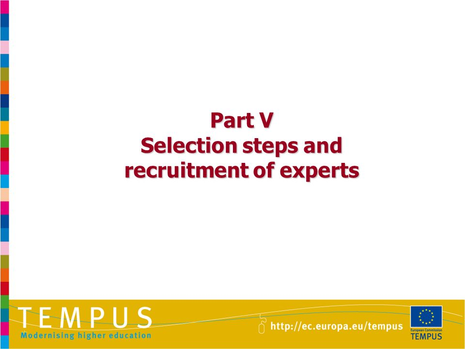 Part V Selection steps and recruitment of experts