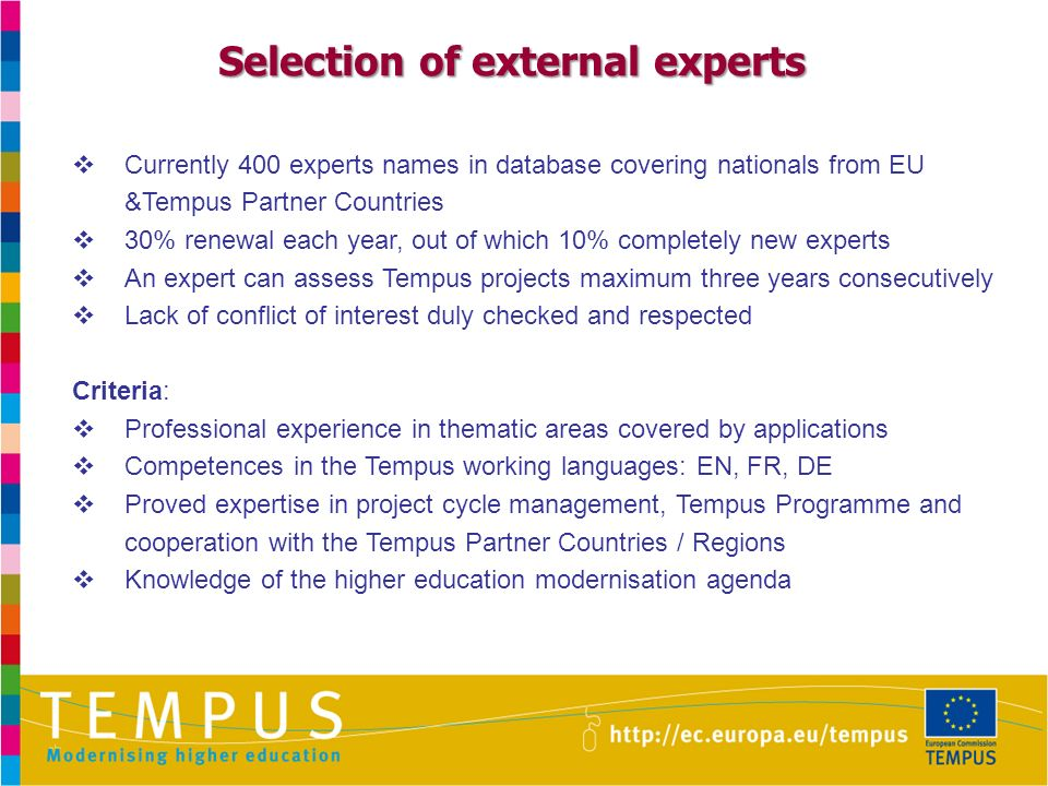Currently 400 experts names in database covering nationals from EU &Tempus Partner Countries 30% renewal each year, out of which 10% completely new experts An expert can assess Tempus projects maximum three years consecutively Lack of conflict of interest duly checked and respected Criteria: Professional experience in thematic areas covered by applications Competences in the Tempus working languages: EN, FR, DE Proved expertise in project cycle management, Tempus Programme and cooperation with the Tempus Partner Countries / Regions Knowledge of the higher education modernisation agenda Selection of external experts