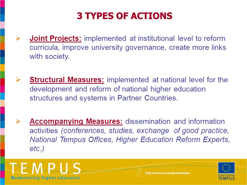 3 TYPES OF ACTIONS Joint Projects: implemented at institutional level to reform curricula, improve university governance, create more links with society.