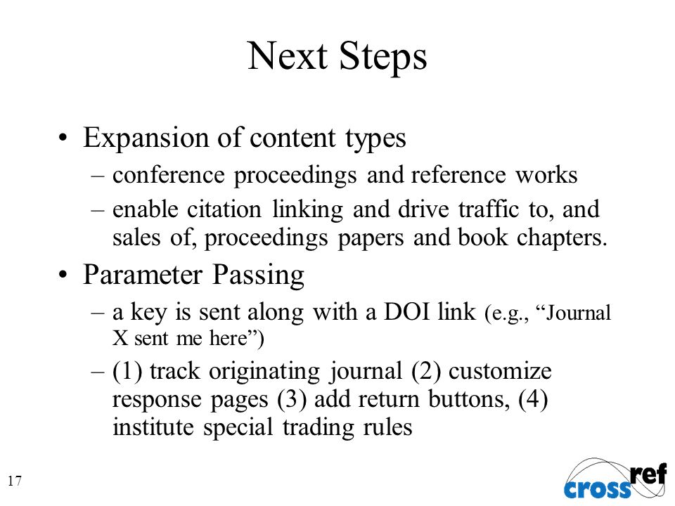 17 Next Steps Expansion of content types –conference proceedings and reference works –enable citation linking and drive traffic to, and sales of, proceedings papers and book chapters.