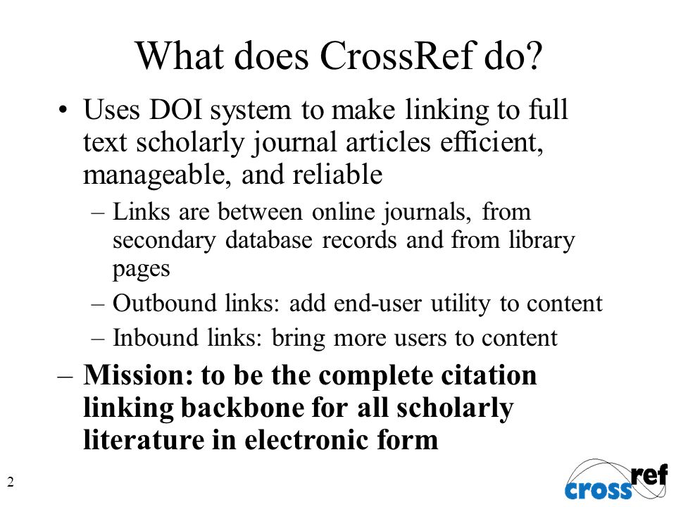 2 What does CrossRef do.