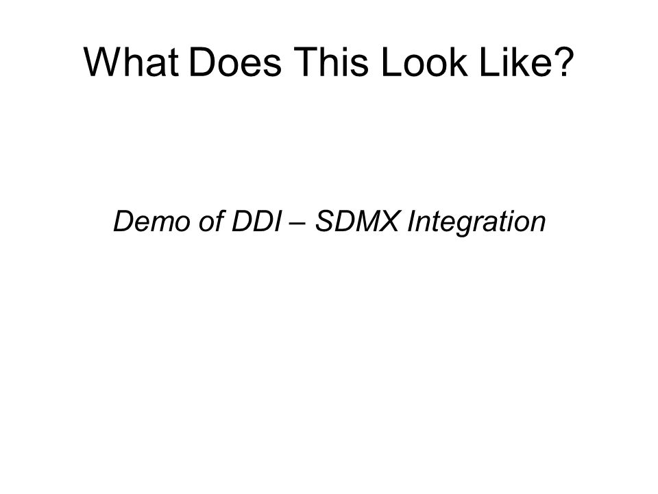 What Does This Look Like? Demo of DDI – SDMX Integration