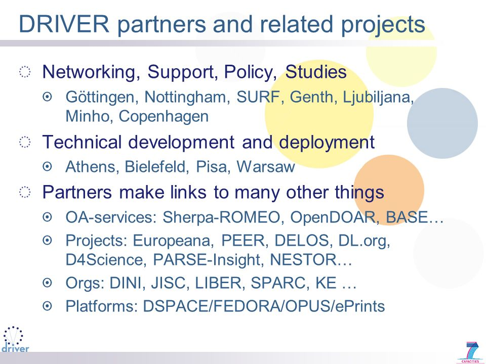 DRIVER partners and related projects Networking, Support, Policy, Studies Göttingen, Nottingham, SURF, Genth, Ljubiljana, Minho, Copenhagen Technical development and deployment Athens, Bielefeld, Pisa, Warsaw Partners make links to many other things OA-services: Sherpa-ROMEO, OpenDOAR, BASE… Projects: Europeana, PEER, DELOS, DL.org, D4Science, PARSE-Insight, NESTOR… Orgs: DINI, JISC, LIBER, SPARC, KE … Platforms: DSPACE/FEDORA/OPUS/ePrints