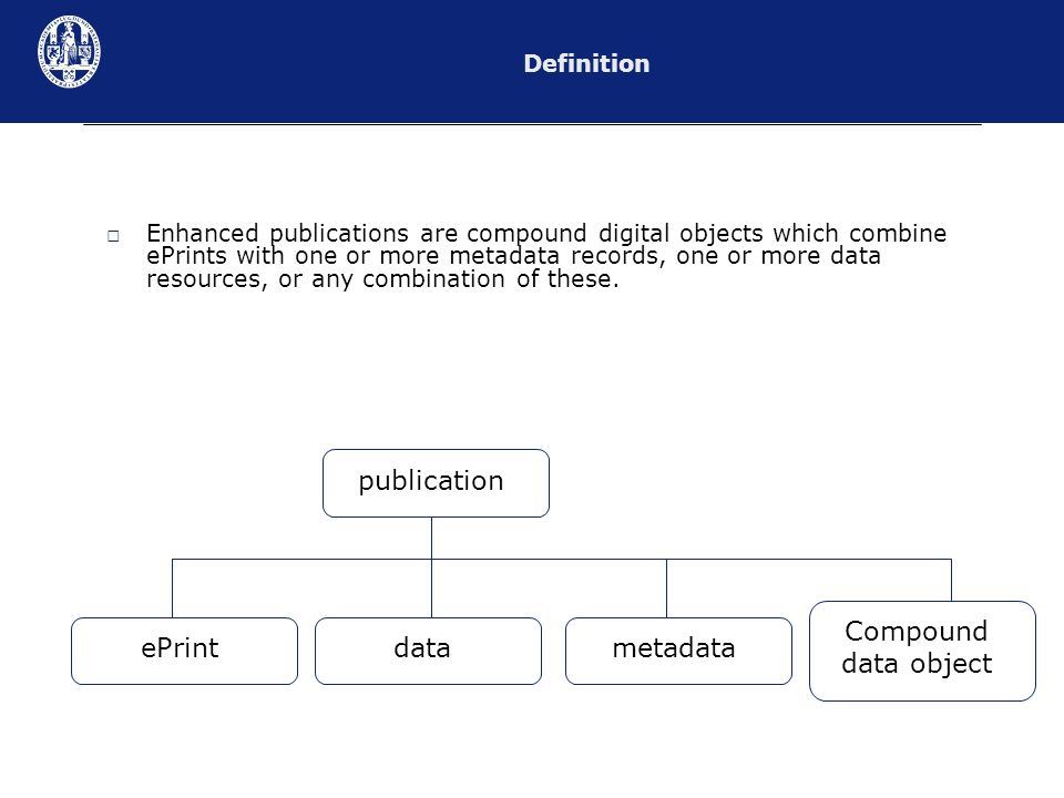 Enhanced publications are compound digital objects which combine ePrints with one or more metadata records, one or more data resources, or any combination of these.