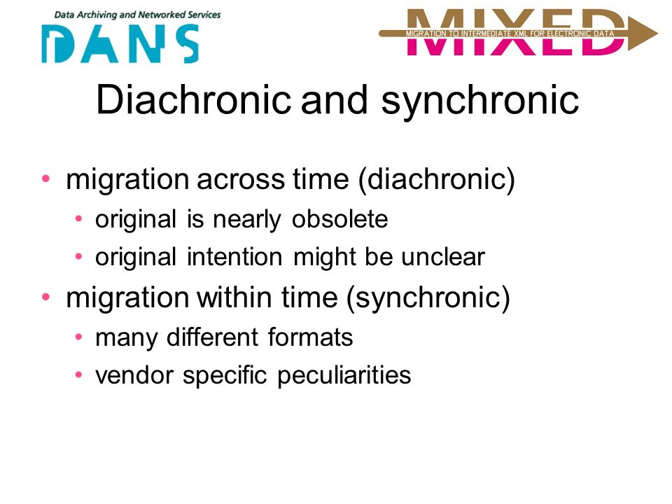 Diachronic and synchronic migration across time (diachronic) original is nearly obsolete original intention might be unclear migration within time (synchronic) many different formats vendor specific peculiarities