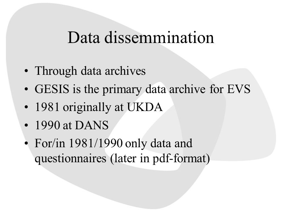 Data dissemmination Through data archives GESIS is the primary data archive for EVS 1981 originally at UKDA 1990 at DANS For/in 1981/1990 only data an