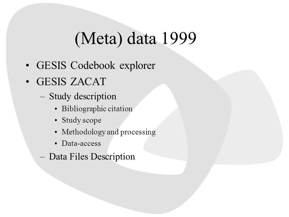(Meta) data 1999 GESIS Codebook explorer GESIS ZACAT –Study description Bibliographic citation Study scope Methodology and processing Data-access –Data Files Description