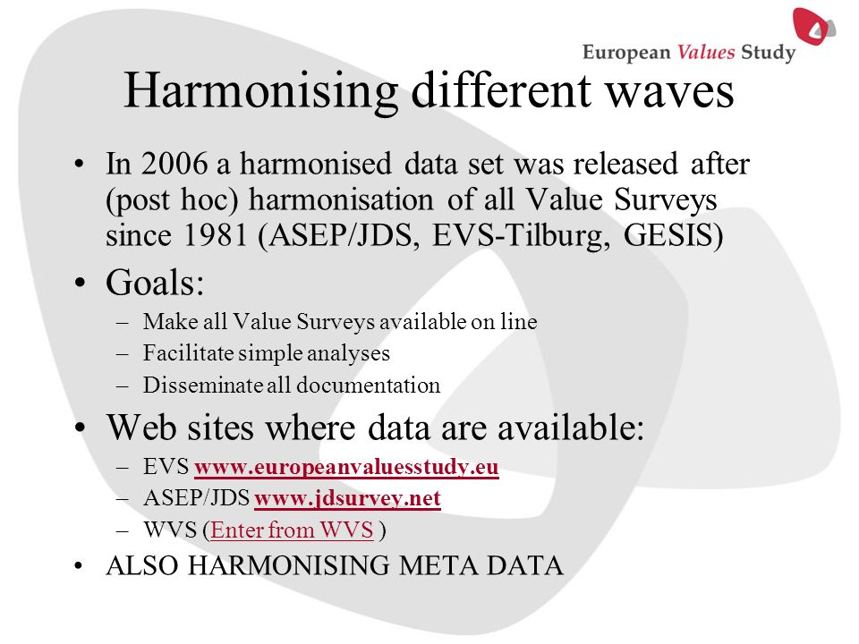 Harmonising different waves In 2006 a harmonised data set was released after (post hoc) harmonisation of all Value Surveys since 1981 (ASEP/JDS, EVS-T