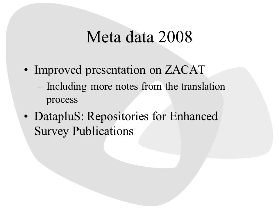Meta data 2008 Improved presentation on ZACAT –Including more notes from the translation process DatapluS: Repositories for Enhanced Survey Publicatio