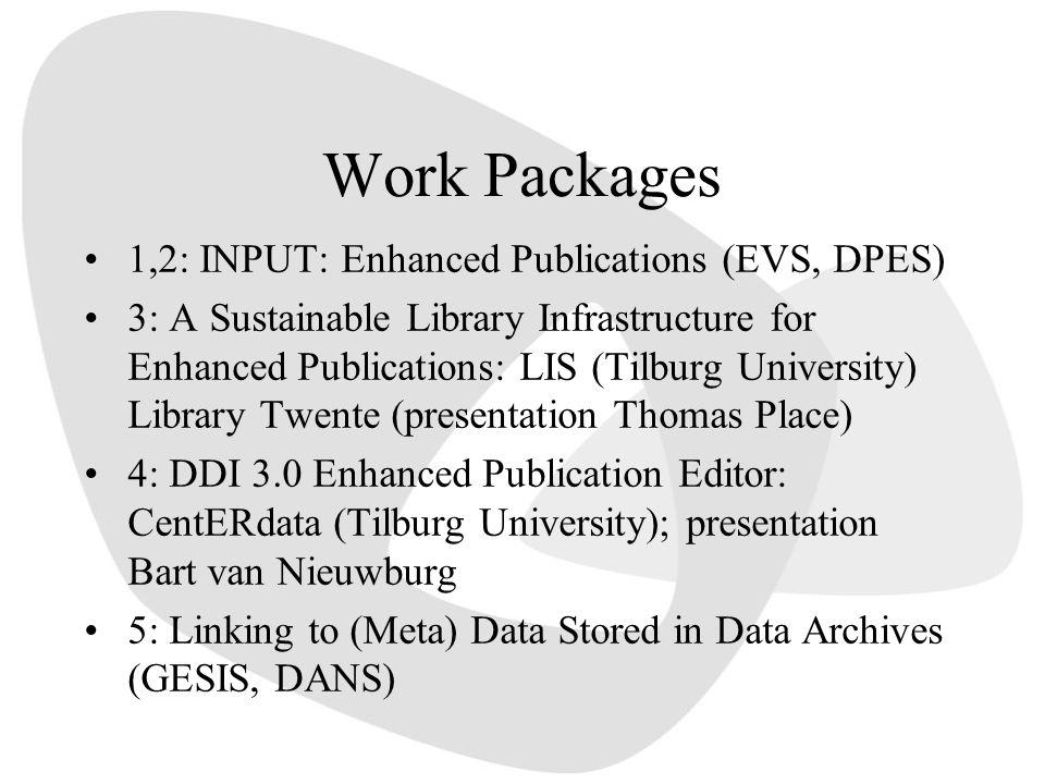 Work Packages 1,2: INPUT: Enhanced Publications (EVS, DPES) 3: A Sustainable Library Infrastructure for Enhanced Publications: LIS (Tilburg University