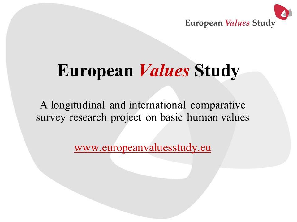 European Values Study A longitudinal and international comparative survey research project on basic human values www.europeanvaluesstudy.eu