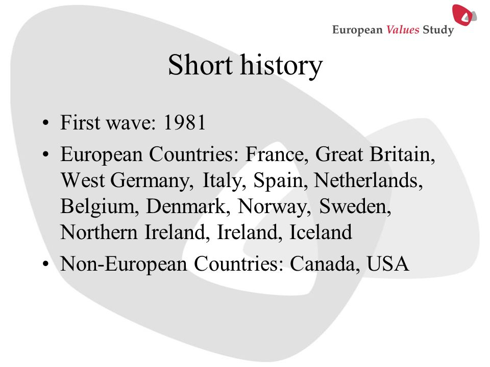 Short history First wave: 1981 European Countries: France, Great Britain, West Germany, Italy, Spain, Netherlands, Belgium, Denmark, Norway, Sweden, N