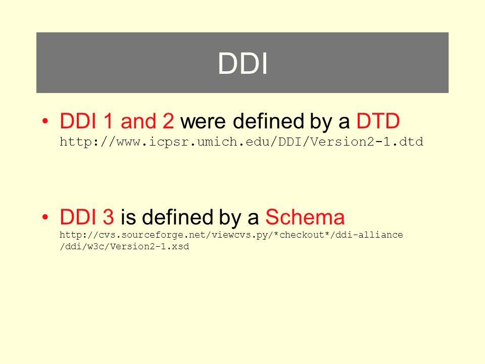 DDI DDI 1 and 2 were defined by a DTD http://www.icpsr.umich.edu/DDI/Version2-1.dtd DDI 3 is defined by a Schema http://cvs.sourceforge.net/viewcvs.py/*checkout*/ddi-alliance /ddi/w3c/Version2-1.xsd