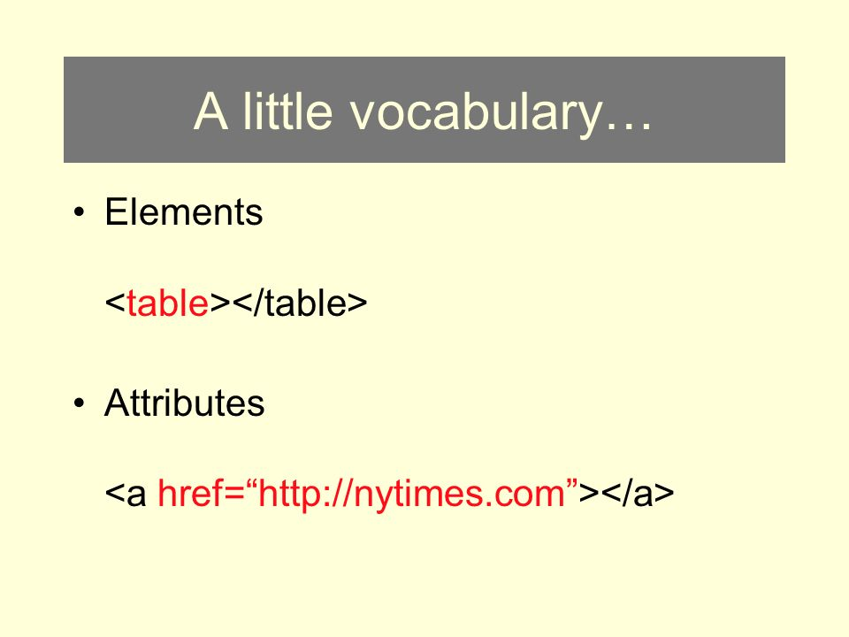 A little vocabulary… Elements Attributes