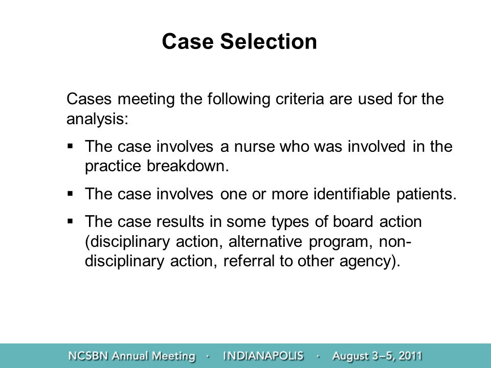 Case Selection Cases meeting the following criteria are used for the analysis: The case involves a nurse who was involved in the practice breakdown. T