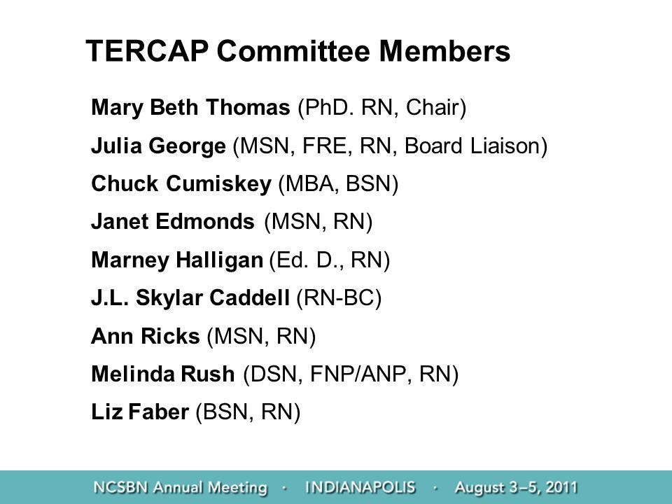 TERCAP Committee Members Mary Beth Thomas (PhD. RN, Chair) Julia George (MSN, FRE, RN, Board Liaison) Chuck Cumiskey (MBA, BSN) Janet Edmonds (MSN, RN