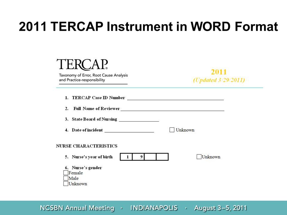 2011 TERCAP Instrument in WORD Format
