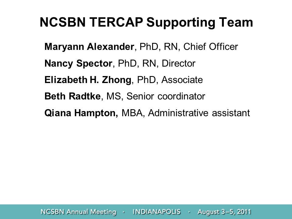 NCSBN TERCAP Supporting Team Maryann Alexander, PhD, RN, Chief Officer Nancy Spector, PhD, RN, Director Elizabeth H. Zhong, PhD, Associate Beth Radtke