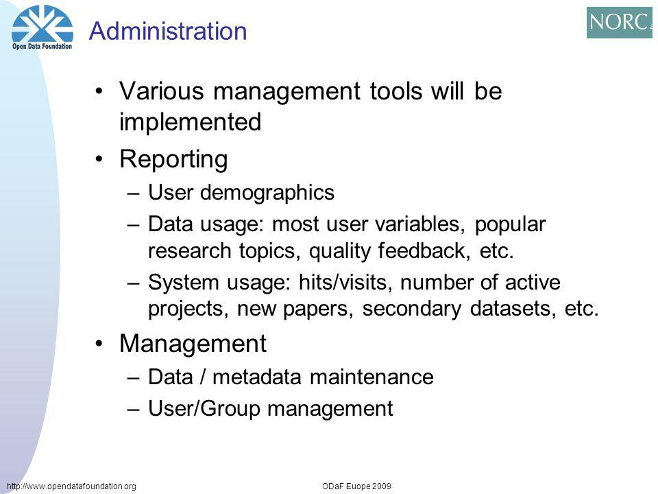 http://www.opendatafoundation.orgODaF Euope 2009 Administration Various management tools will be implemented Reporting –User demographics –Data usage: most user variables, popular research topics, quality feedback, etc.